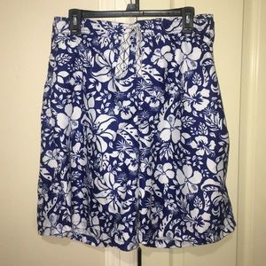 Men's Floral Swim Trunks Size XXL Blue White